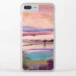 Tropical Sunset Surfer Clear iPhone Case