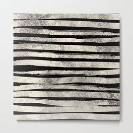 Horizontal Ink Brush Stripes Metal Print