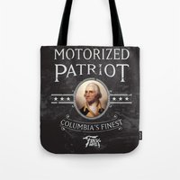 bioshock Tote Bags featuring Bioshock Motorized Patriot by Liquidsugar