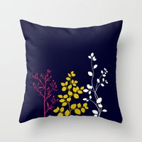 plain Throw Pillows featuring Bloom- plain by Jordan Virden