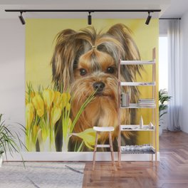 Spring Yellow Crocuses With Yorkie Puppy #decor #society6 Wall Mural