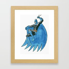 Caped crusader - Watercolor Framed Art Print
