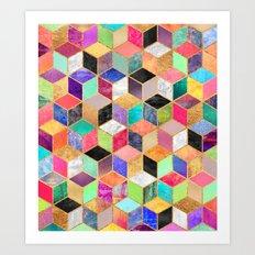 Colorful Cubes Art Print