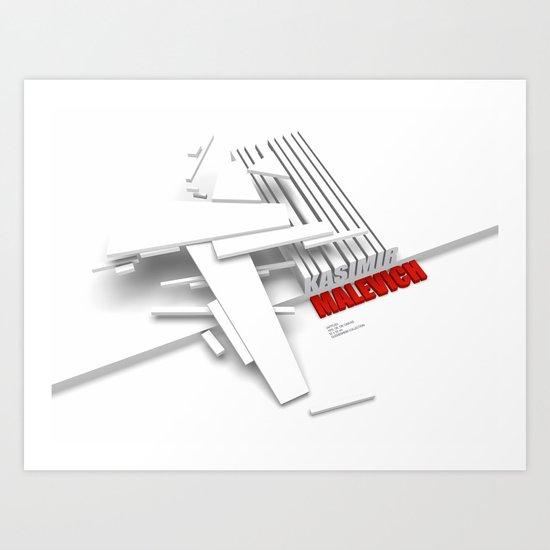 Malevich 3D [B&W] Art Print