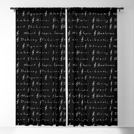 Classical Music Composers, pattern, black bg Blackout Curtain