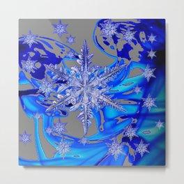 MODERN ROYAL BLUE WINTER SNOWFLAKES GREY ART Metal Print