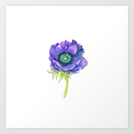 Blue Floral Elements Art Print