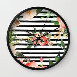 Floral Black And White Stripe Wall Clock