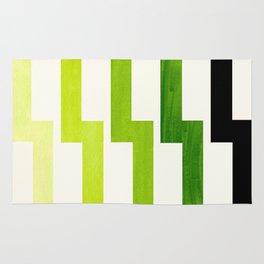 Minimalist Mid Century Modern Sap Green Watercolor Painting Lightning Bolt Zig Zag Pattern With Blac Rug