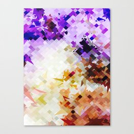 geometric square pixel pattern abstract background in purple brown Canvas Print
