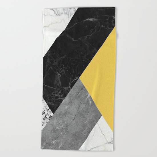Black and white marbles and pantone primrose yellow color Beach Towel