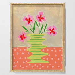Flowers on a vase III Serving Tray