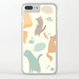 Cute cats, vintage color, vector illustrations, poster, arts Clear iPhone Case