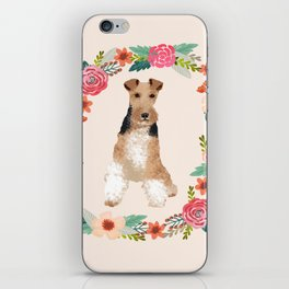 wite fox terrier floral wreath dog breed pure breed pet portrait iPhone Skin