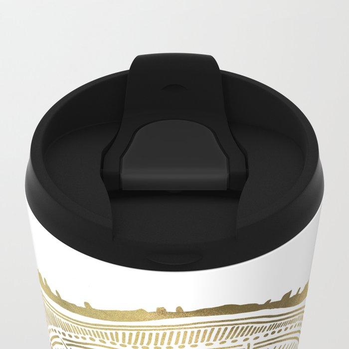 Paper Birch – Gold Tree Rings Metal Travel Mug