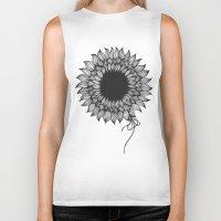 sunflower Biker Tanks featuring Sunflower by kocha studio™
