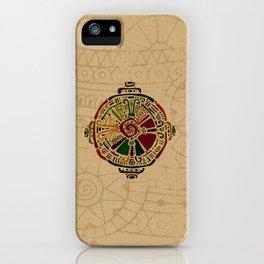 Colorful Hunab Ku Mayan symbol on cotton iPhone Case