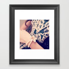 Girl, Vintage, Pearls  Framed Art Print