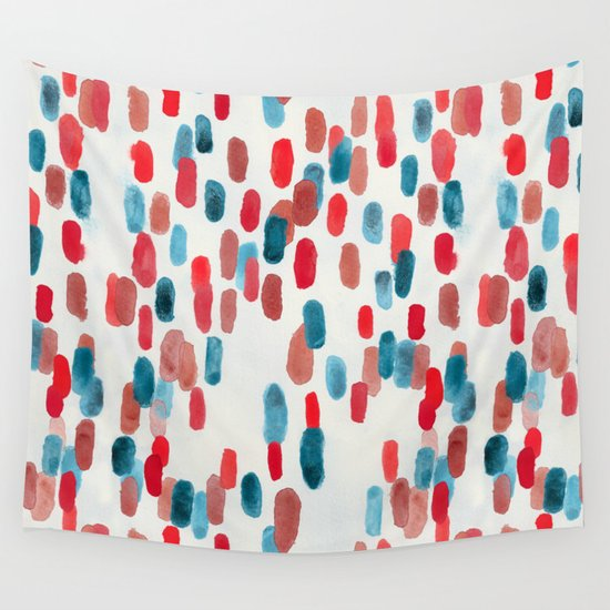 Watercolor Ovals - Red, Blue & Cream by tigatigaartworks