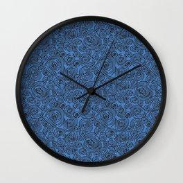 Black and Blue Abstract Circles Wall Clock
