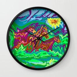 Purple Feathered Horses Art Range Wall Clock