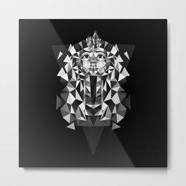 Black and White Tutankhamun - Pharaoh's Mask Metal Print