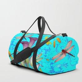 BLUE ART GOLDEN DRAGONFLIES CALLA LILIES Duffle Bag