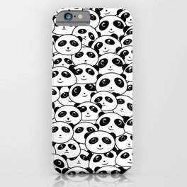 Panda Crowd Pandas Faces Cute Cartoon Pattern iPhone Case