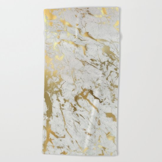 Gold marble Beach Towel