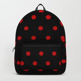 Rizzo - Red Polka Dots in Black Backpack