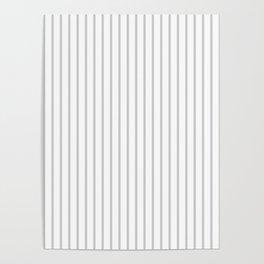 Dove Grey Pin Stripes on White Poster