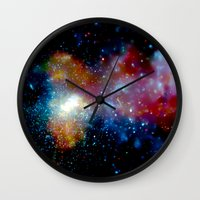 milky way Wall Clocks featuring Milky Way by Upperleft Studios