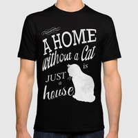 Home with Cat Black Mens Fitted Tee MEDIUM