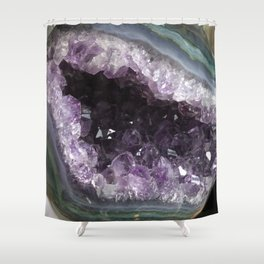 Amethyst Crystal Geode Sphere Shower Curtain