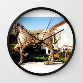 Horse & Plough by Shimon Drory Wall Clock
