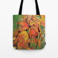 faces Tote Bags featuring FACES by tidlin
