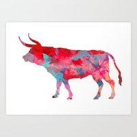 bull Art Prints featuring Bull by WatercolorGirlArt