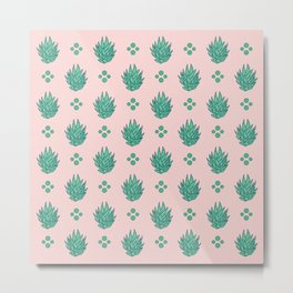 Striped Succulents in Pink Metal Print