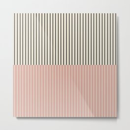 Color Block Lines XIV Vintage Pink Metal Print