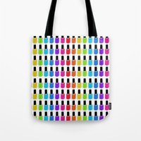 nail polish Tote Bags featuring Nail Polish Rainbow by Tikwid