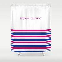 bisexual Shower Curtains featuring Bisexual Is Okay by jess