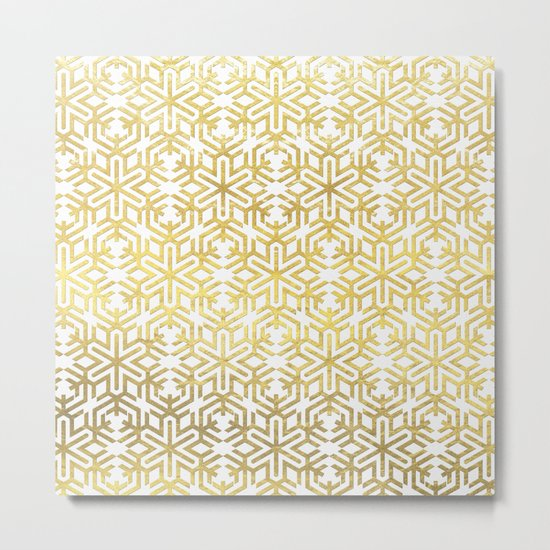 White and Gold Snowflake Pattern Metal Print