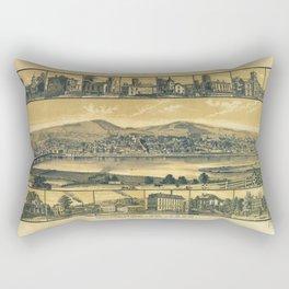 Aerial View of Towanda, Pennsylvania (1880) Rectangular Pillow