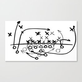 Football Soccer strategy play Diagram  Canvas Print