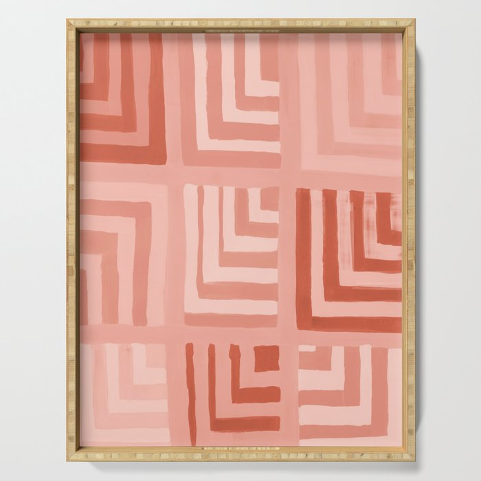Painted Color Block Squares in Peach Serving Tray