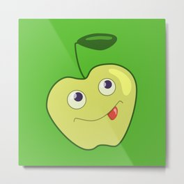 Cute Smiling Green Cartoon Apple Metal Print