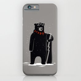 Bear on snowboard iPhone Case