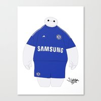 chelsea fc Canvas Prints featuring Baymax in a Chelsea FC kit by Stewiie