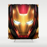 iron man Shower Curtains featuring IRON MAN IRON MAN by Smart Friend