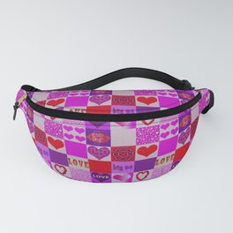 Patchwork Romantic Hearts Pattern Fanny Pack